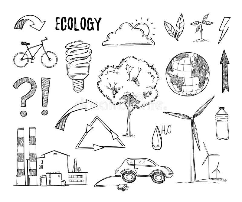 Ilustración drenada mano del vector Planta de los elementos del diseño de la ecología, ilustración del vector
