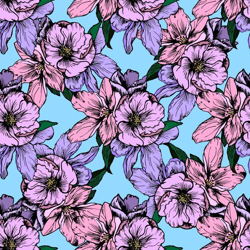 Ilustración drenada mano Flores rosadas y púrpuras delicadas Modelo inconsútil stock de ilustración