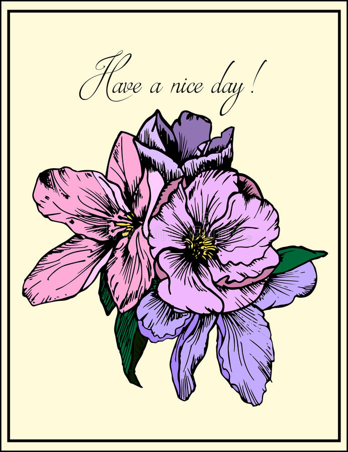 Ilustración drenada mano Flores rosadas y púrpuras delicadas Tarjeta de felicitación Tenga un día agradable stock de ilustración