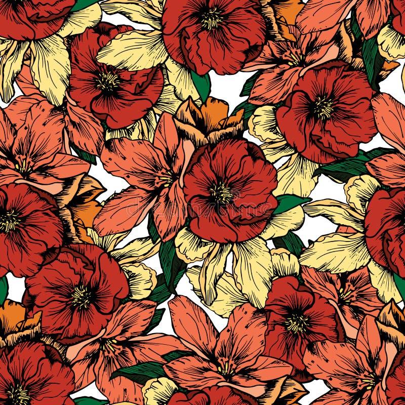 Ilustración drenada mano Flores y amapolas rojas Modelo inconsútil ilustración del vector