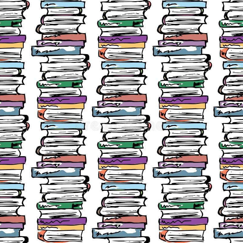 Ilustración educativa Estudio, sesión, biblioteca, vida del estudiante Modelo inconsútil ilustración del vector