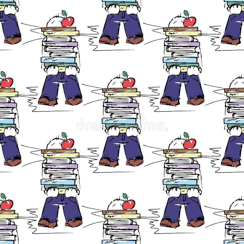 Ilustración educativa Gente en el trabajo Estudio, sesión, biblioteca, vida del estudiante Modelo inconsútil stock de ilustración