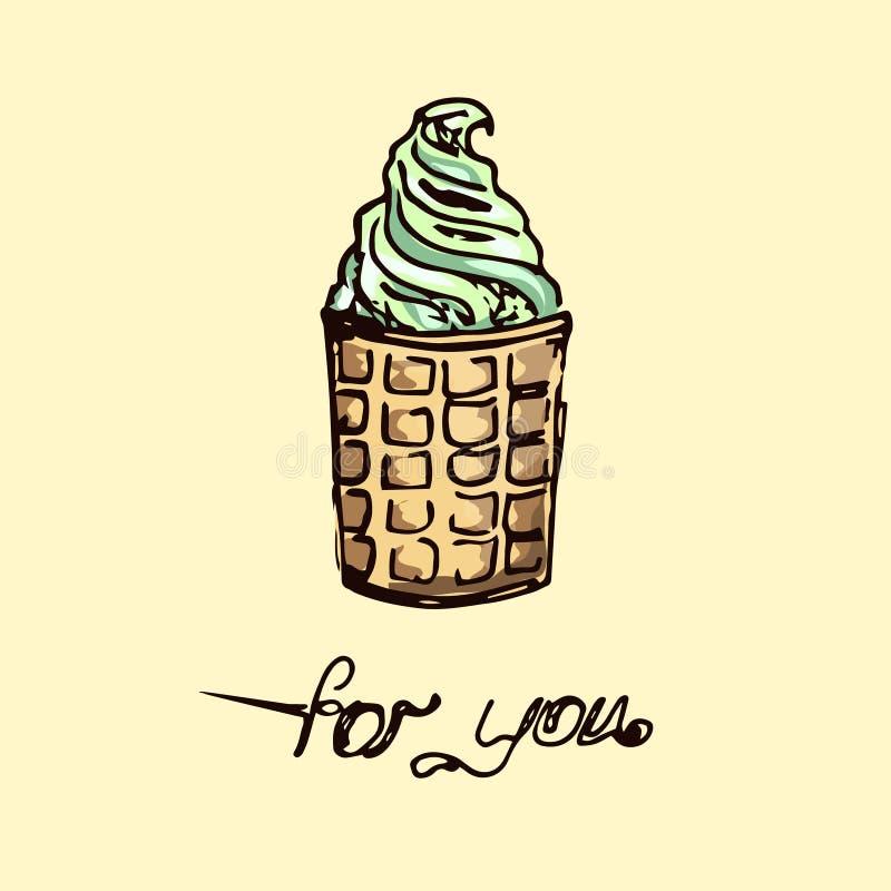 Ilustración El helado del pistacho en una taza de la galleta stock de ilustración
