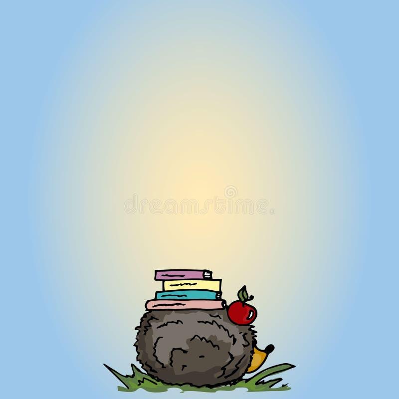 Ilustración Erizo de la historieta con los libros libre illustration