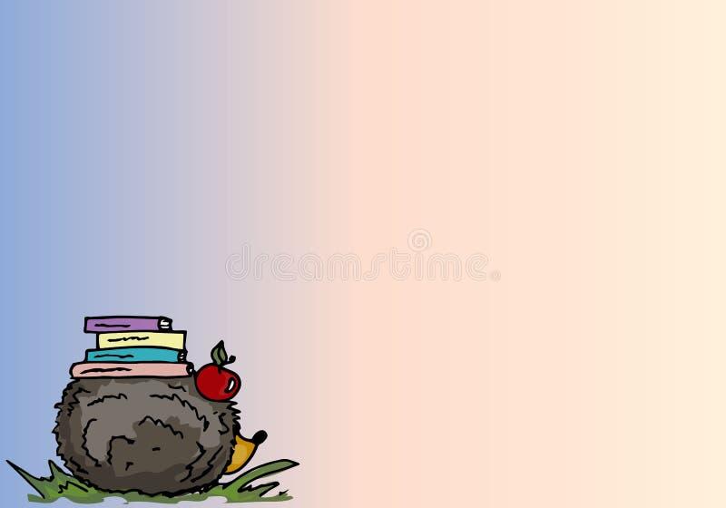 Ilustración Erizo de la historieta con los libros Fondo stock de ilustración