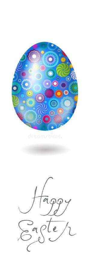 Ilustración feliz de Pascua cartel Ilustración feliz de Pascua Huevo azul con un modelo geométrico floral stock de ilustración