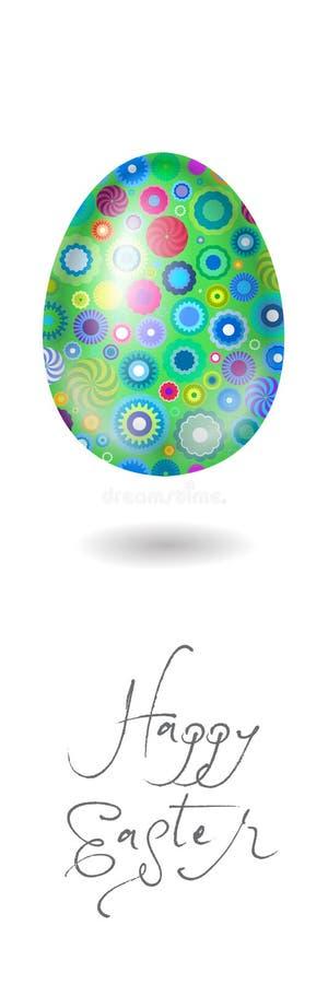 Ilustración feliz de Pascua cartel Ilustración feliz de Pascua Huevo verde con un modelo geométrico floral libre illustration