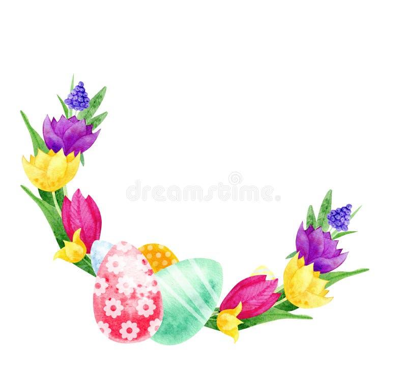 Ilustración feliz de Pascua Guirnalda Huevos con las flores ilustración del vector