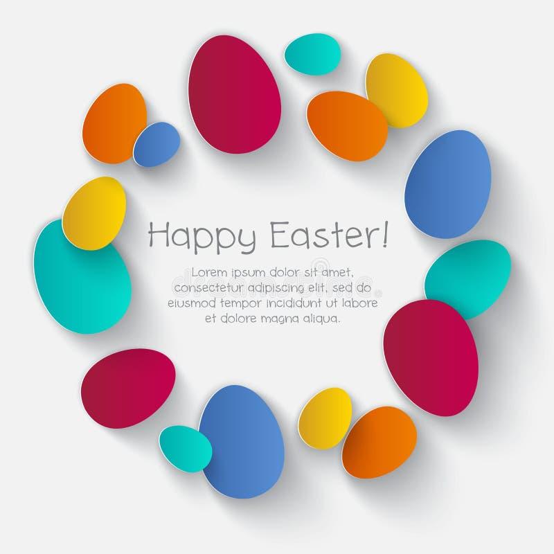 Ilustración feliz de Pascua Las letras y el color eggs en un fondo blanco stock de ilustración