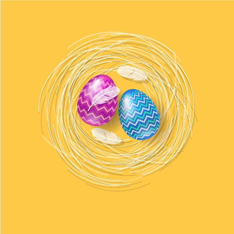 Ilustración feliz de Pascua Letras y huevos de Pascua con las plumas en una jerarquía stock de ilustración