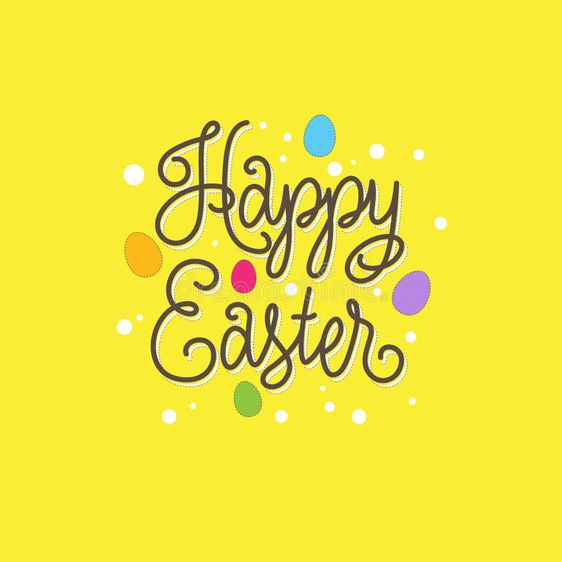 Ilustración feliz de Pascua Letras y huevos en un fondo amarillo libre illustration