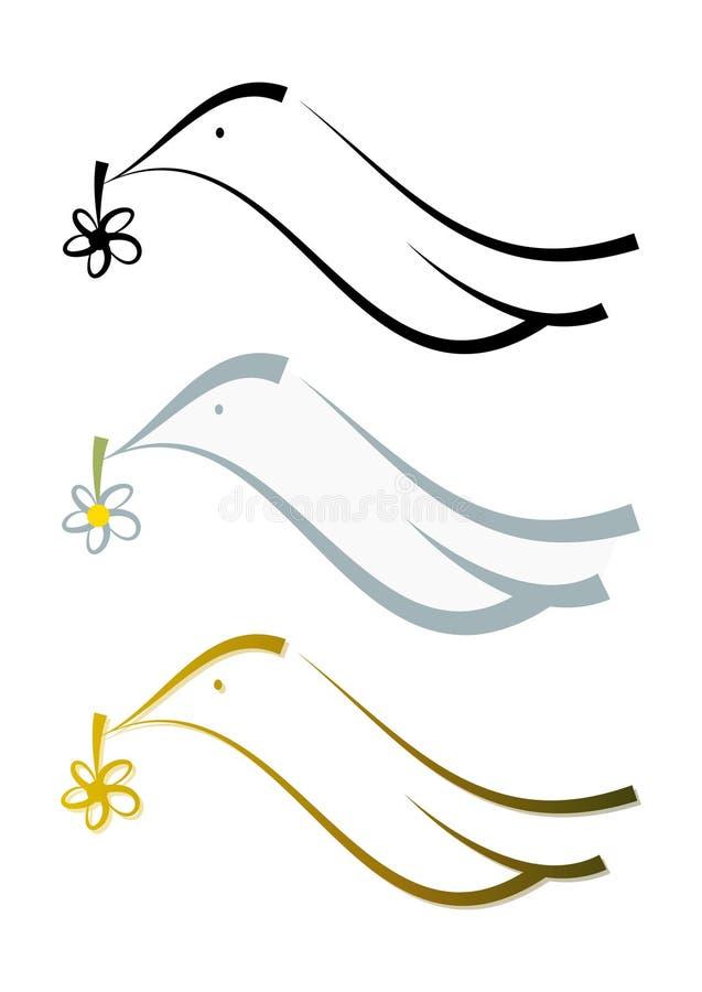 Ilustración fijada: Símbolo de la paloma del extracto stock de ilustración