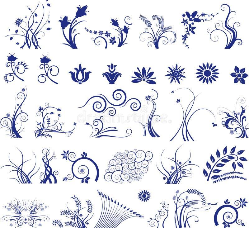 Ilustración floral de los elementos ilustración del vector