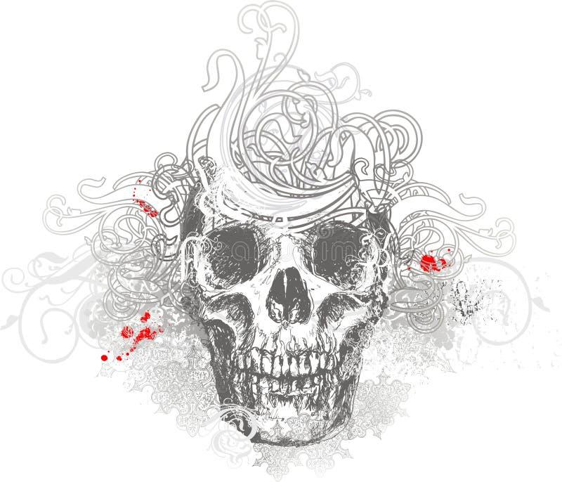 Ilustración floral del cráneo ilustración del vector