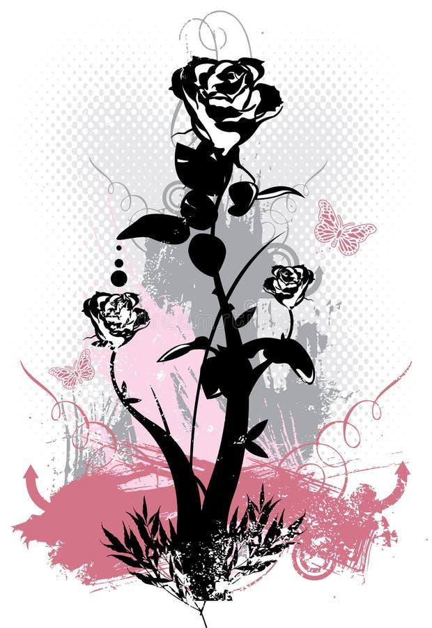 Ilustración floral del vector del grunge de las rosas góticas ilustración del vector