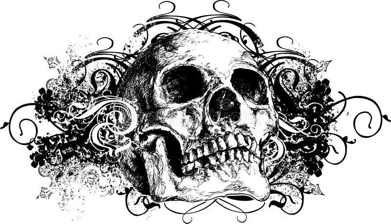 Ilustración floral traviesa del cráneo stock de ilustración