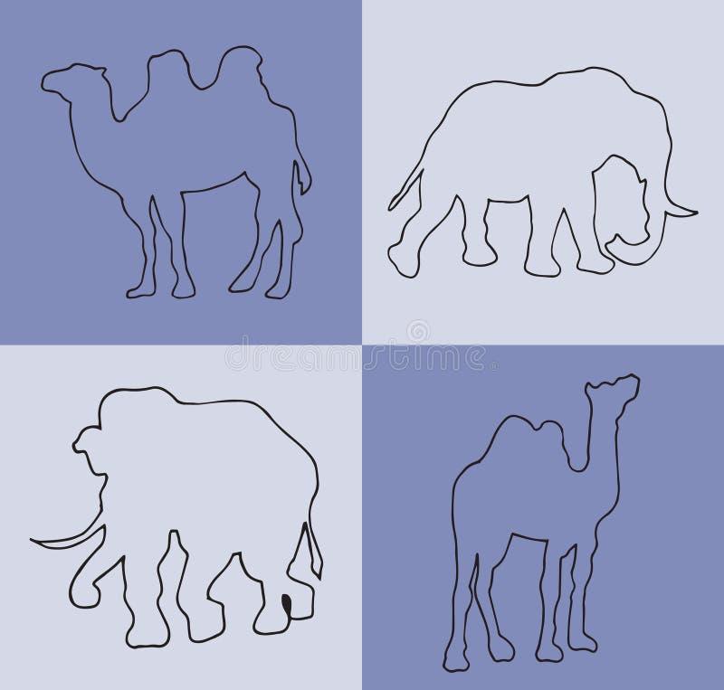 Ilustración Fondo azul con los camellos y los elefantes libre illustration