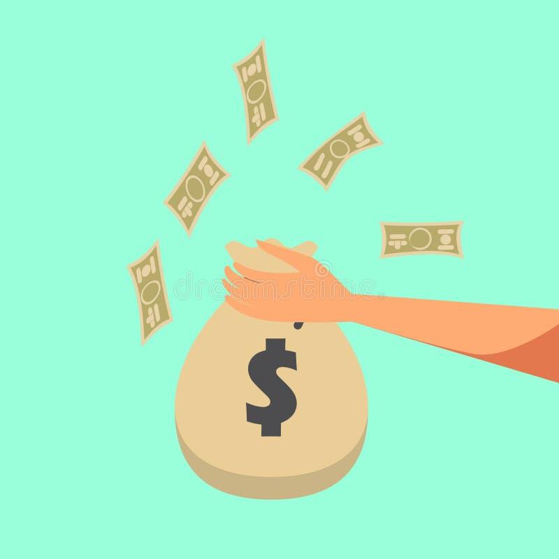 Ilustración Fondo plano con el bolso de la mano y del dinero Fabricación del dinero Depósito bancario Financier0es ilustración del vector