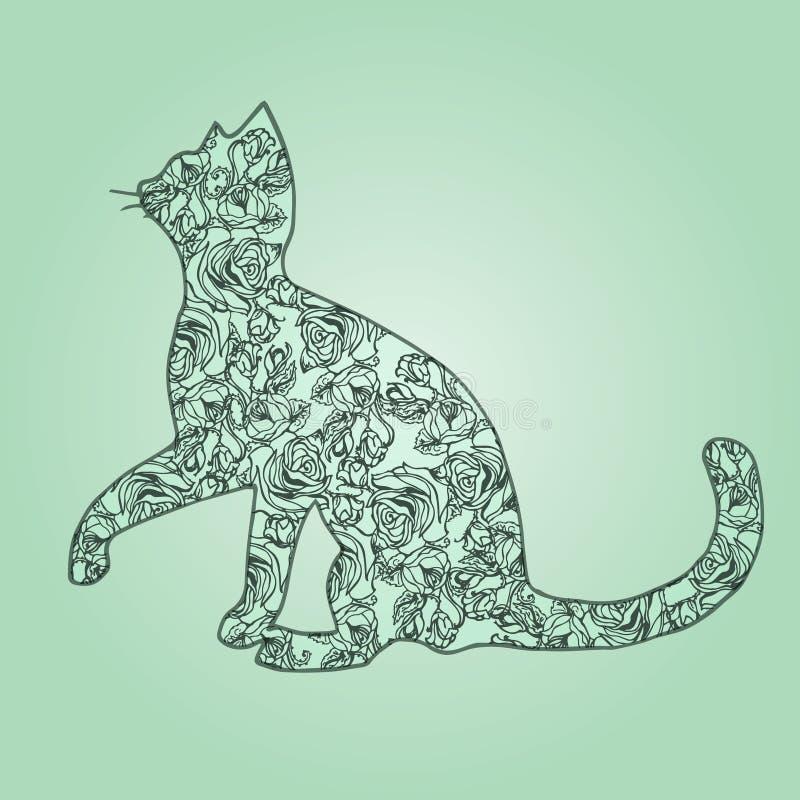Ilustración Gato con las flores en un fondo verde bosquejo stock de ilustración
