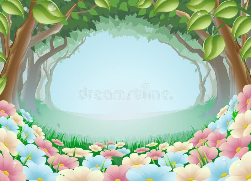 Ilustración hermosa de la escena del bosque de la fantasía stock de ilustración
