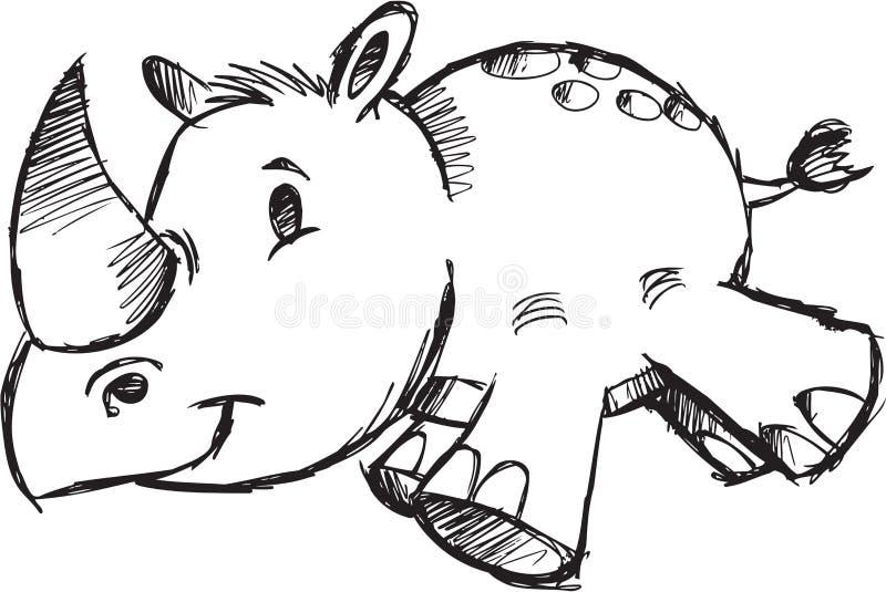 Ilustración incompleta del vector del rinoceronte del safari stock de ilustración