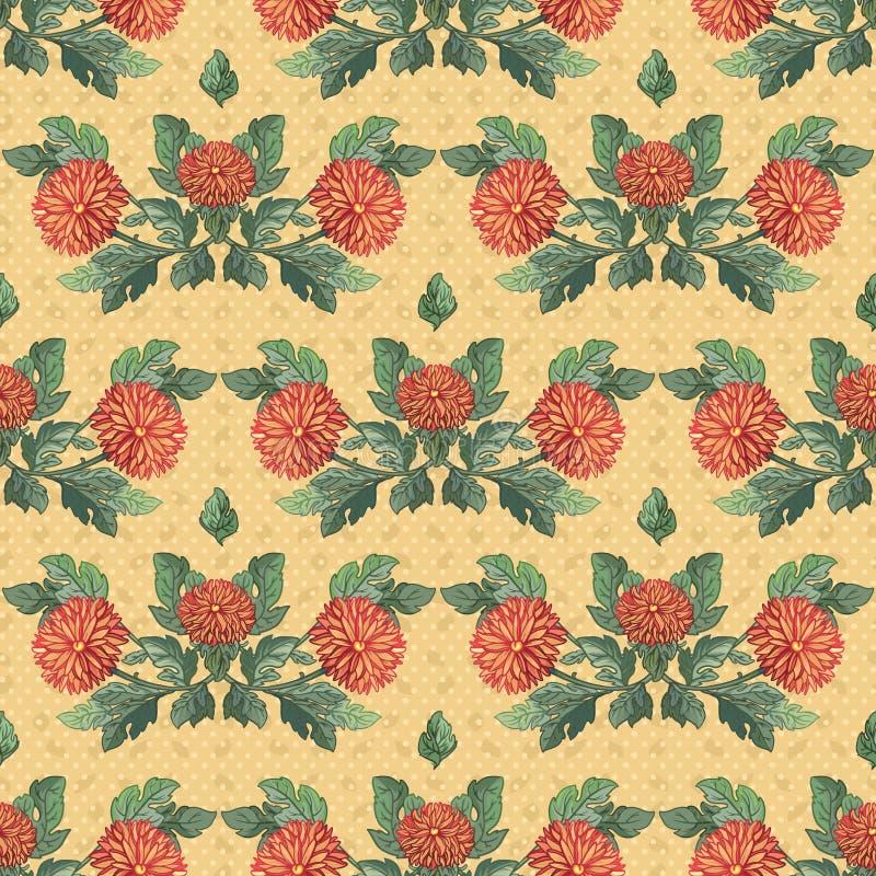 Ilustración inconsútil. crisantemos stock de ilustración