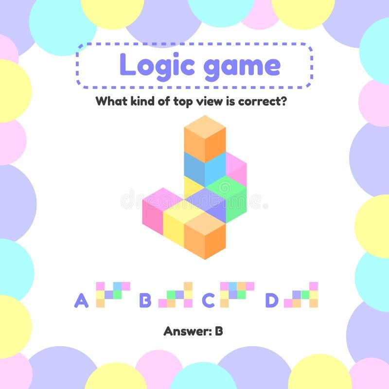 Ilustración Juego de la lógica para el preescolar y los niños de edad de escuela cuál es la visión desde el superior derecho ilustración del vector