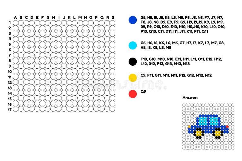 Ilustración juego para los niños preescolares colorante Coloree los círculos según los coordenadas vehículo de pasajeros del tran ilustración del vector