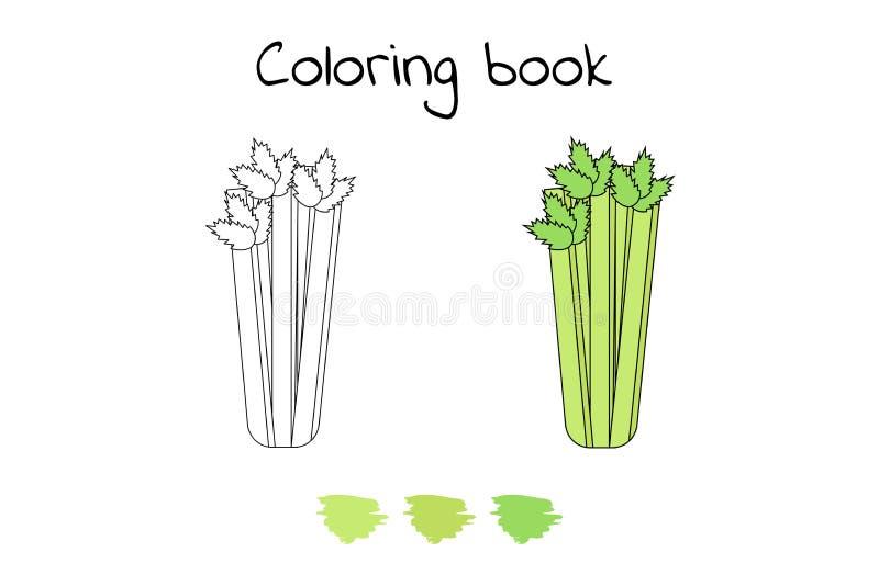 Ilustración Juego para los niños Verdura Apio de la página que colorea stock de ilustración