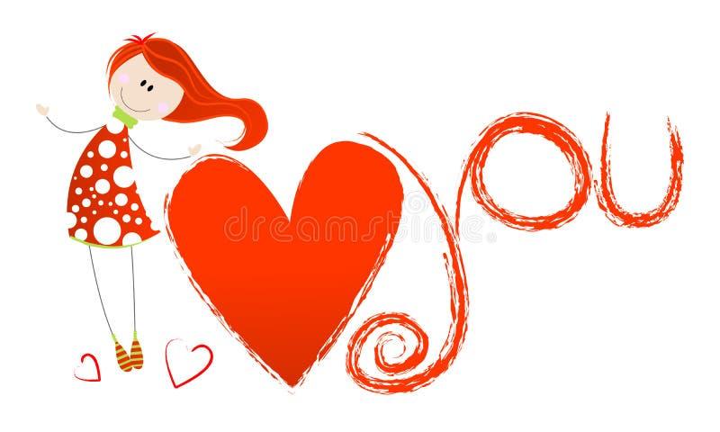 Ilustración linda del día de tarjeta del día de San Valentín libre illustration
