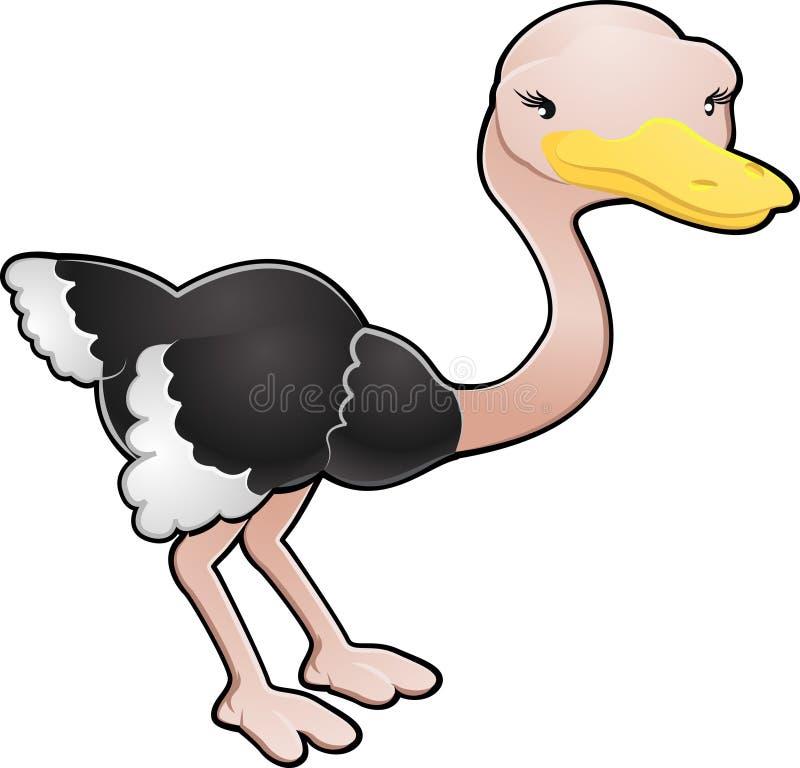 Ilustración linda del vector de la avestruz ilustración del vector