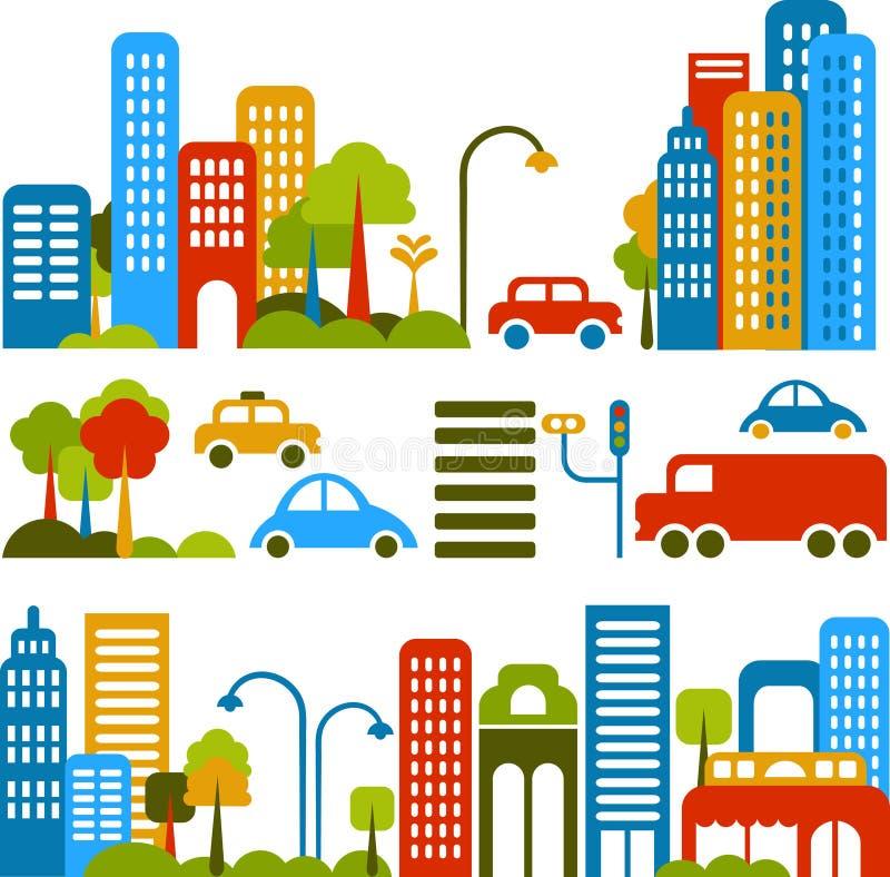 Ilustración linda del vector de una calle de la ciudad stock de ilustración