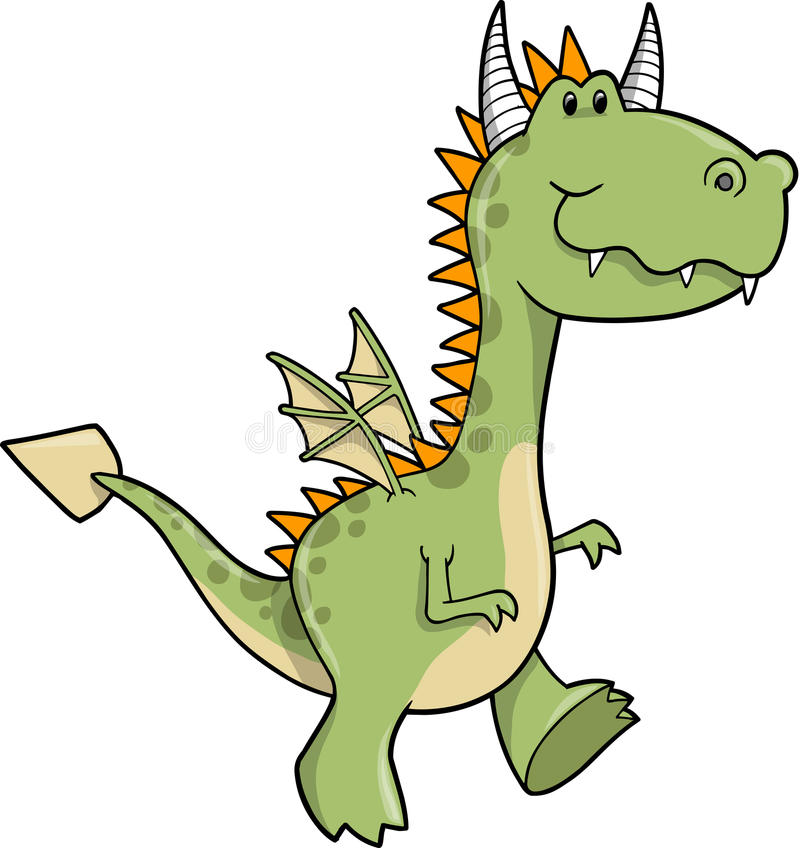 Ilustración linda del vector del dragón stock de ilustración