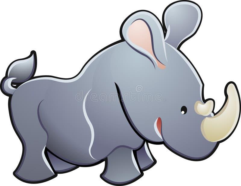 Ilustración linda del vector del rinoceronte stock de ilustración