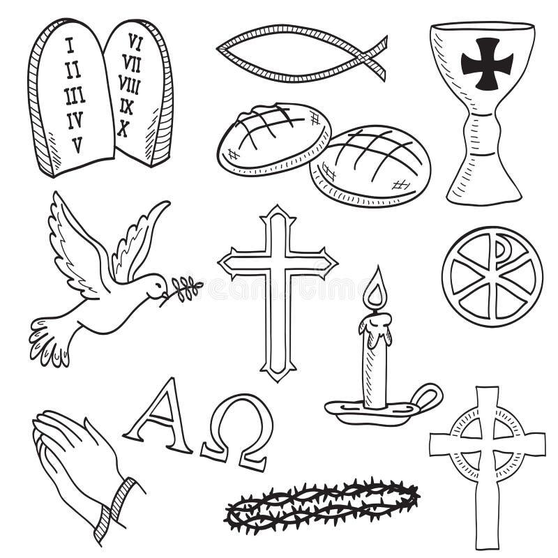 Ilustración a mano cristiana de los símbolos stock de ilustración