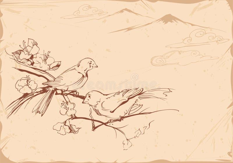 Ilustración a mano de pájaros libre illustration