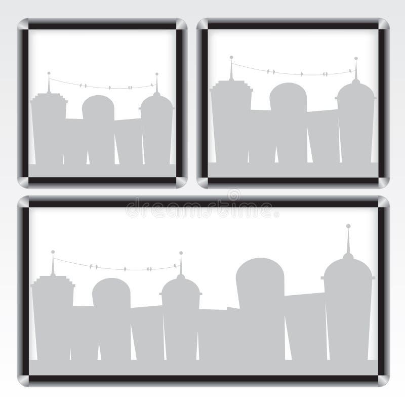 Ilustración negra del marco y de la ciudad libre illustration