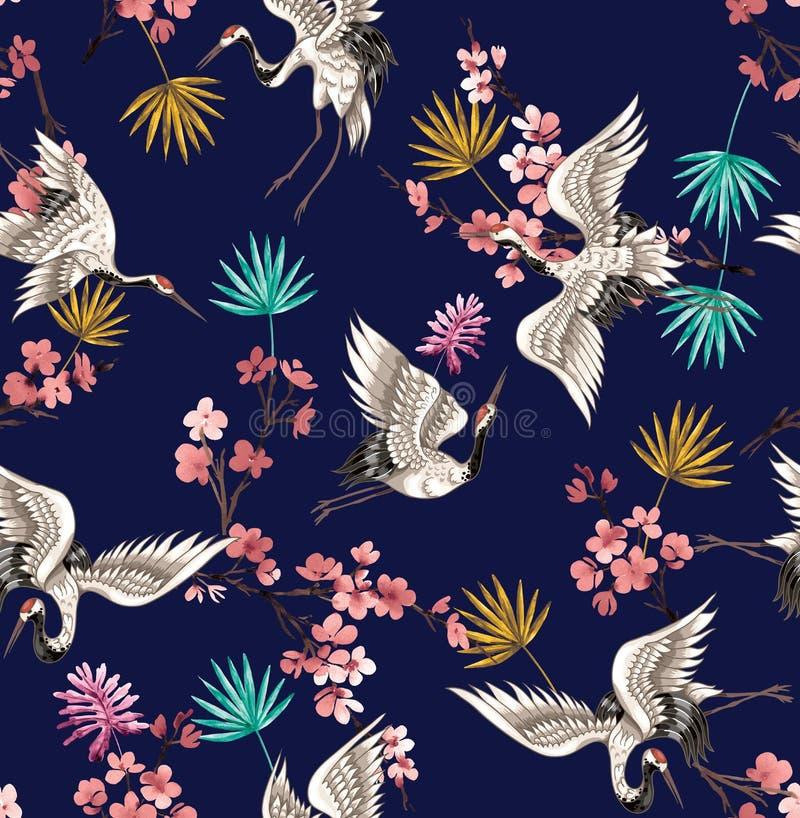 Ilustración perfecta con grúas de pájaros y cigüeña sobre fondo azul oscuro. Para la decoración de textiles, embalajes y pap libre illustration