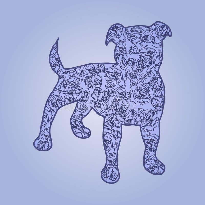 Ilustración Perro con las flores en un fondo azul ilustración del vector
