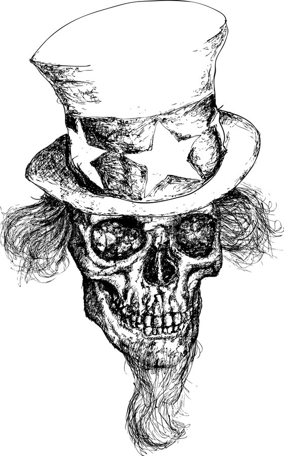 Ilustración política del cráneo stock de ilustración