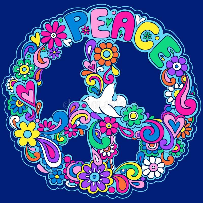 Ilustración psicodélica del vector de la muestra de paz ilustración del vector