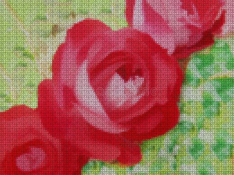 Ilustración Punto de cruz Florece rosas libre illustration