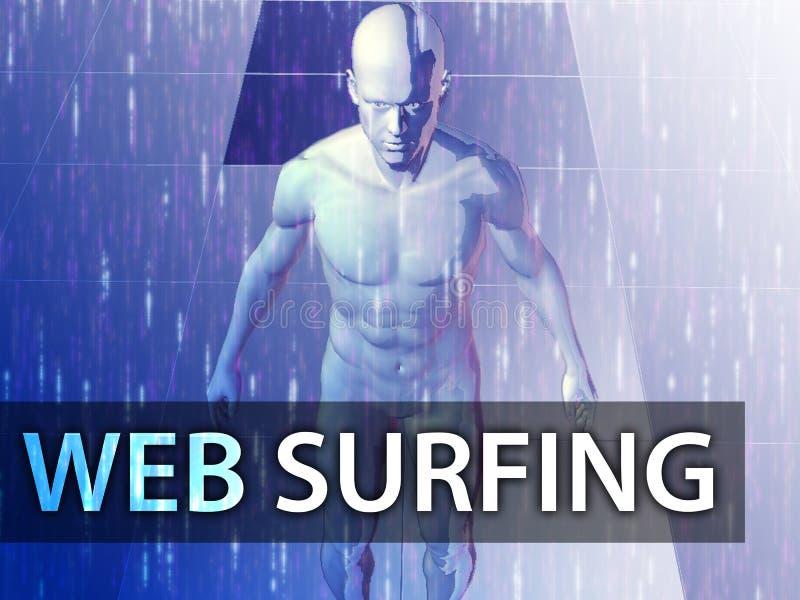 Ilustración que practica surf del Web ilustración del vector