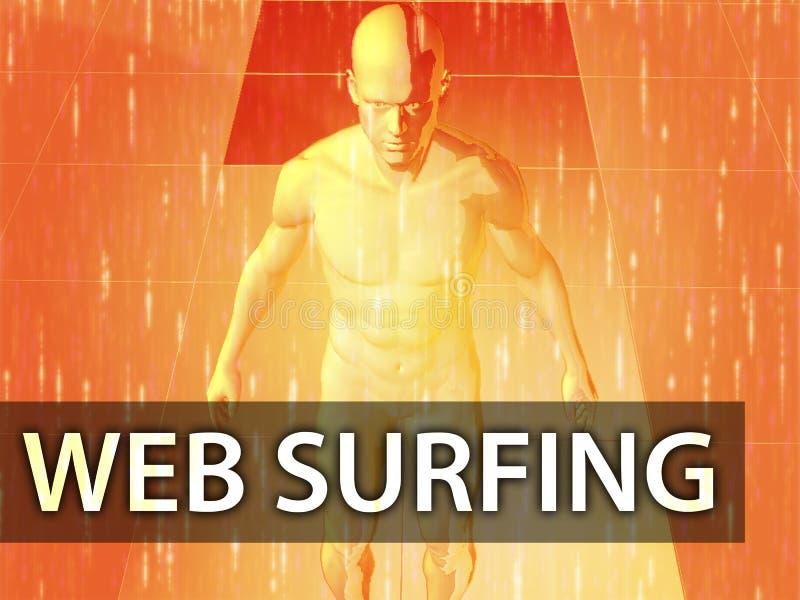 Ilustración que practica surf del Web stock de ilustración