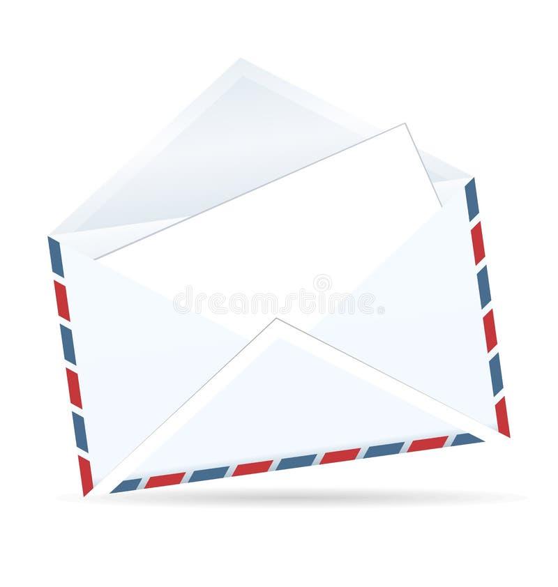 Ilustración realista del sobre abierto del poste stock de ilustración
