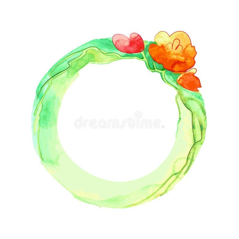 Ilustración redonda con las flores anaranjadas en una tira verde ancha stock de ilustración