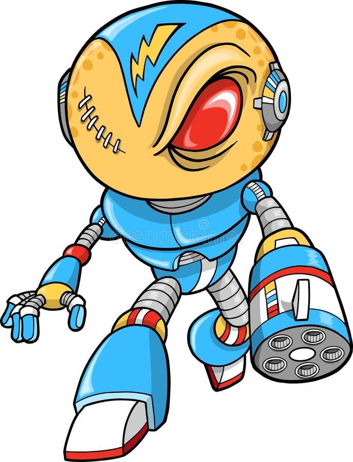 Ilustración robótica del vector del guerrero stock de ilustración