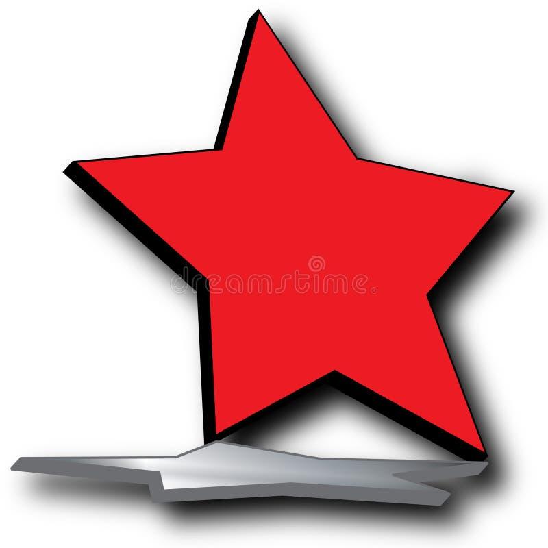 Ilustración roja de la insignia de la estrella 3D ilustración del vector