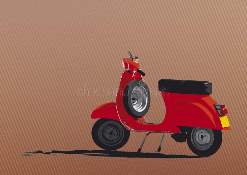 Ilustración roja de la vespa stock de ilustración