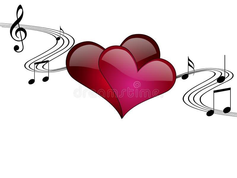 Ilustración romántica del vector de la música stock de ilustración